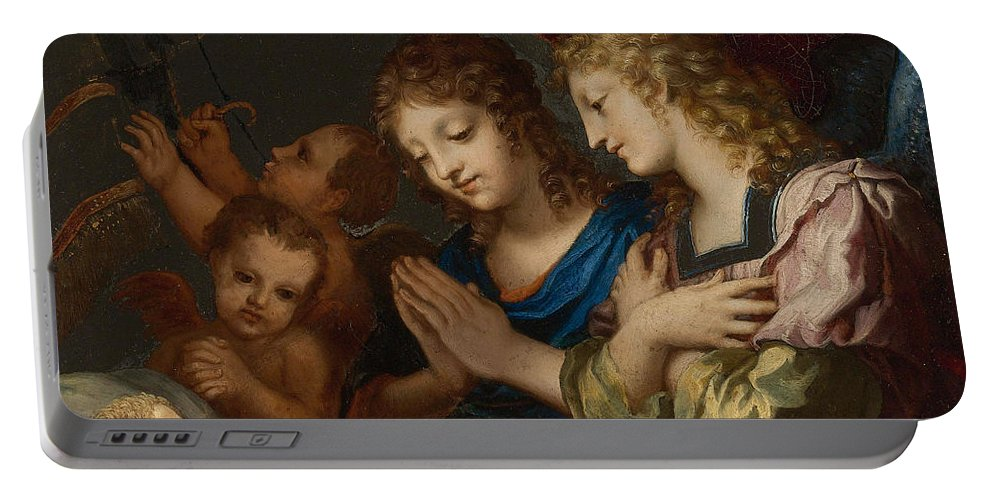 Jacques Stella Portable Battery Charger featuring the painting Angles Adoring The Sleeping Christ by Jacques Stella