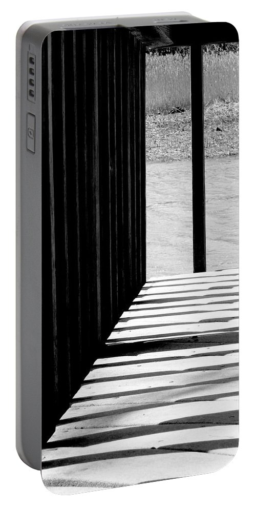 Shadow Portable Battery Charger featuring the photograph Angles And Shadows - Black And White by Shawna Rowe