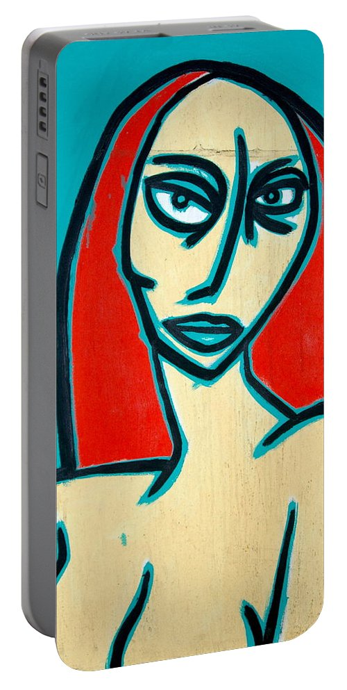 Oil Portable Battery Charger featuring the painting Angry Jen by Thomas Valentine