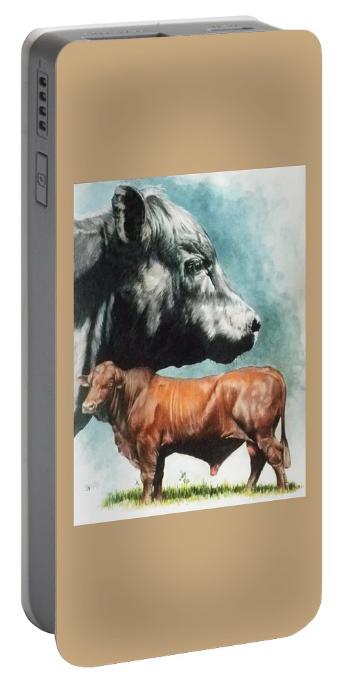 Beef Portable Battery Charger featuring the mixed media Angus Cattle by Barbara Keith