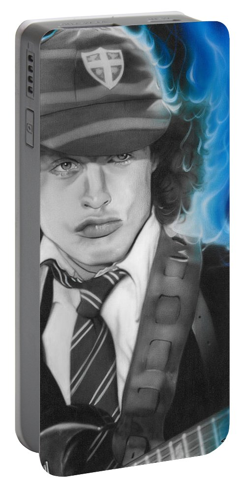 Angus Young Portable Battery Charger featuring the painting Angus by Christian Chapman Art
