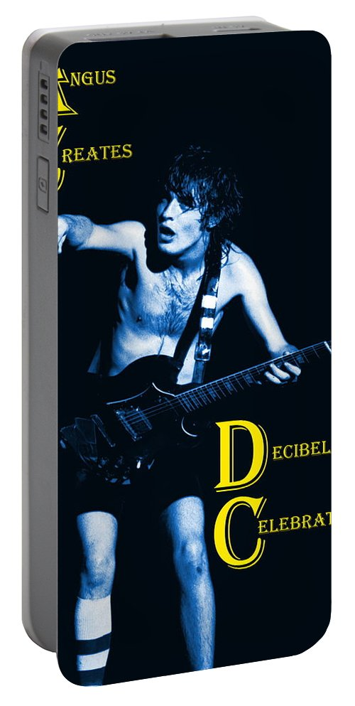 Angus Young Portable Battery Charger featuring the photograph Angus Creates Decibel Celebrations In Blue by Ben Upham