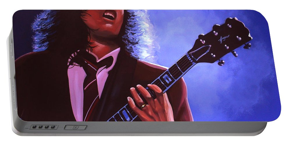 Angus Young Portable Battery Charger featuring the painting Angus Young Of Ac / Dc by Paul Meijering