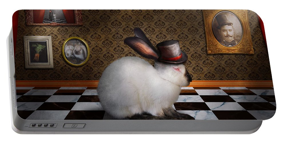 Rabbit Portable Battery Charger featuring the photograph Animal - The Rabbit by Mike Savad