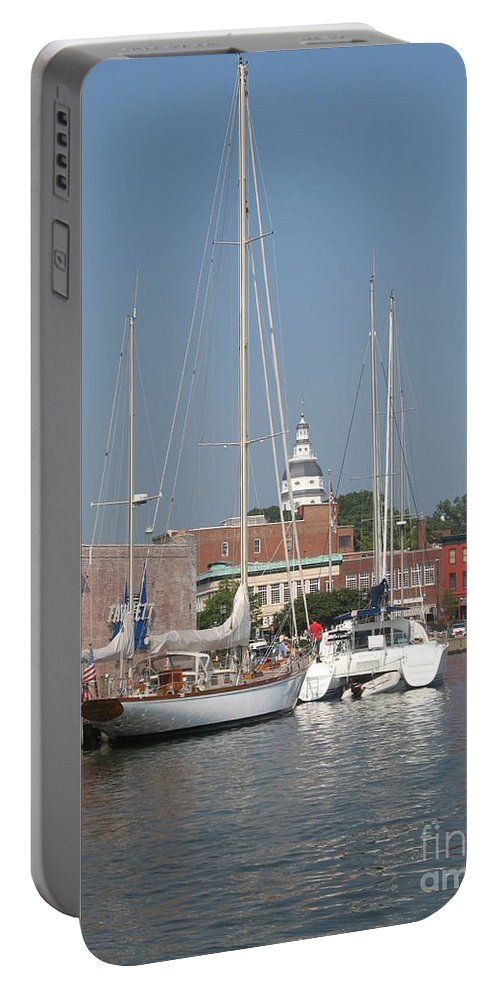 Harbor Portable Battery Charger featuring the photograph Annapolis Harbor Alongside Dock Street by Christiane Schulze Art And Photography