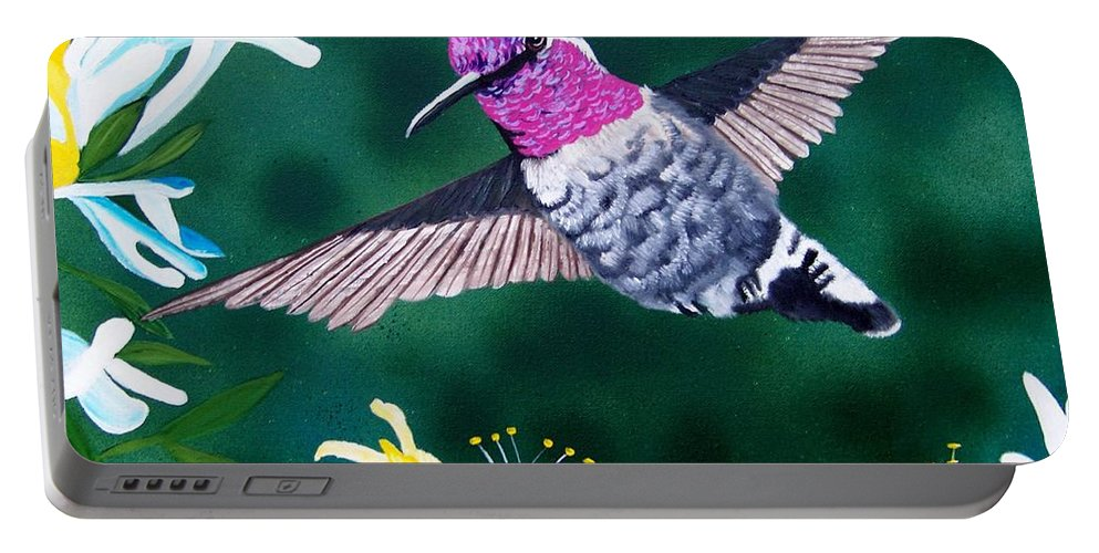 Hummingbird Portable Battery Charger featuring the painting Anna's Hummingbird by Debbie LaFrance