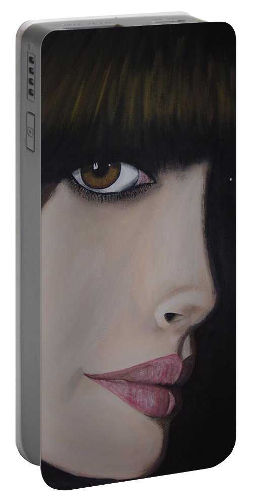 American Actress Portable Battery Charger featuring the painting Anne Hathaway by Dean Stephens