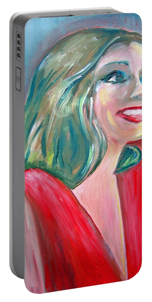 Anne Hathaway Portable Battery Charger featuring the painting Anne Hathaway In Interview by Patricia Taylor