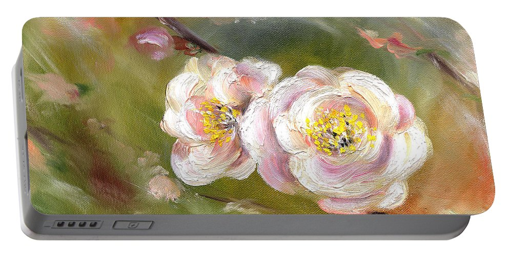 Flower Portable Battery Charger featuring the painting Anniversary by Hiroko Sakai