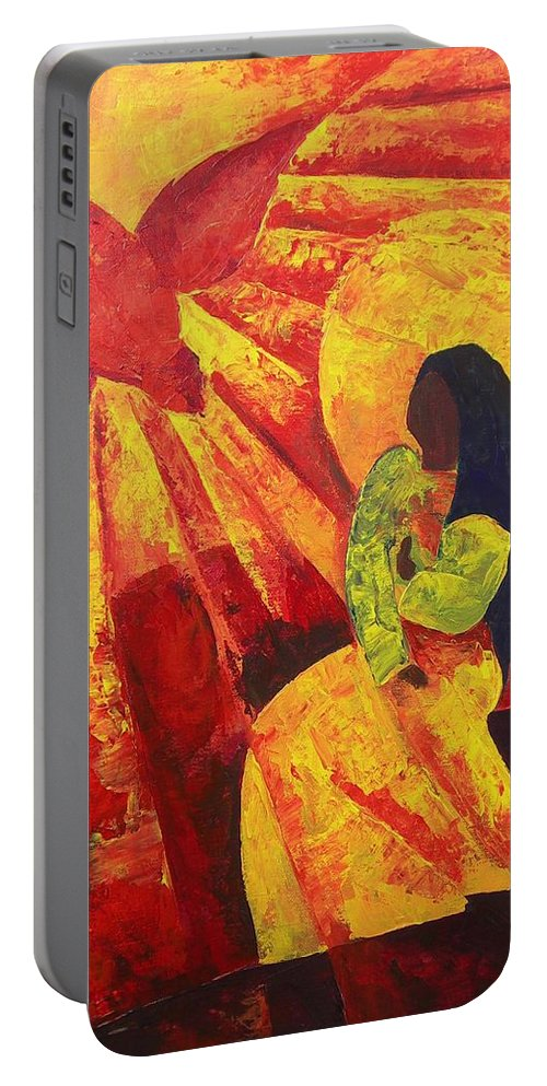 Haiti Portable Battery Charger featuring the painting Annunciation by Patricia Brintle