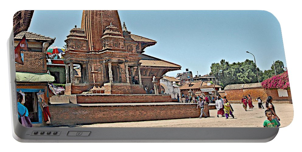 Another Hindu Temple In Bhaktapur Durbar Square In Bhaktapur In Nepal Portable Battery Charger featuring the photograph Another Hindu Temple N Bhaktapur Durbar Square In Bhaktapur -nepal by Ruth Hager