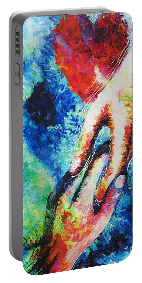 Answered Prayer Portable Battery Charger featuring the painting Answered Prayer by Julie Turner