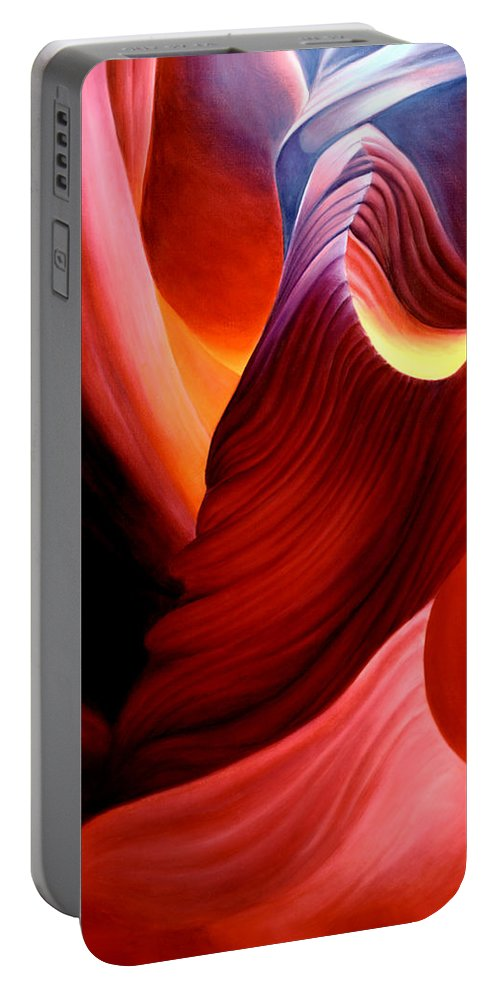 Antelope Canyon Portable Battery Charger featuring the painting Antelope Magic by Anni Adkins