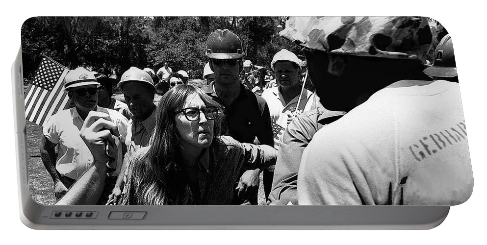 Anti-viet Nam War Protestor Confronting Smoking Marine Pro-war March Tucson Arizona 1970 Portable Battery Charger featuring the photograph Anti-viet Nam War Protestor Confronting Smoking Marine Pro-war March Tucson Arizona 1970 by David Lee Guss
