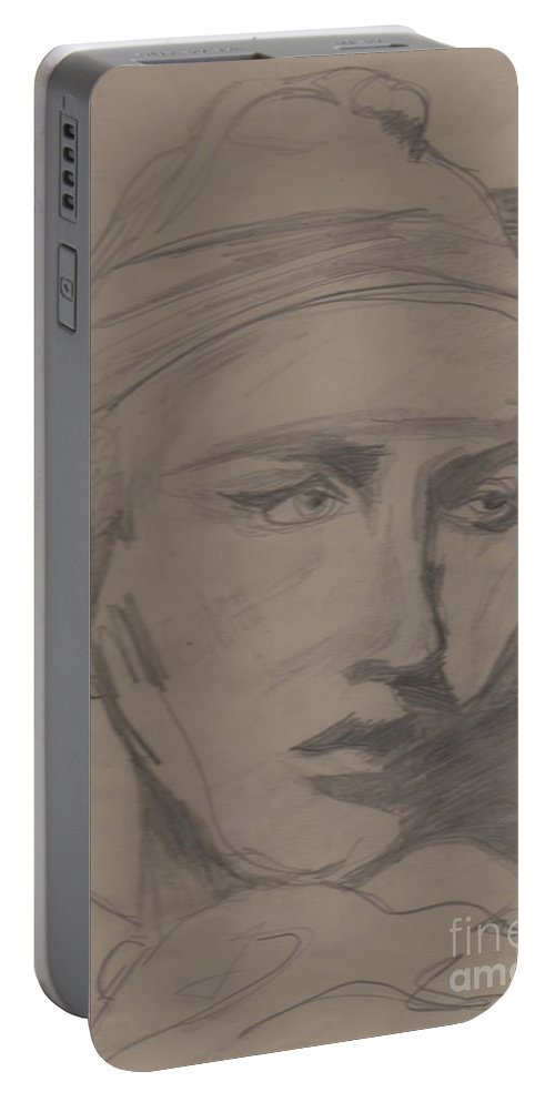 Portrait Portable Battery Charger featuring the drawing Antigone By Jrr by First Star Art