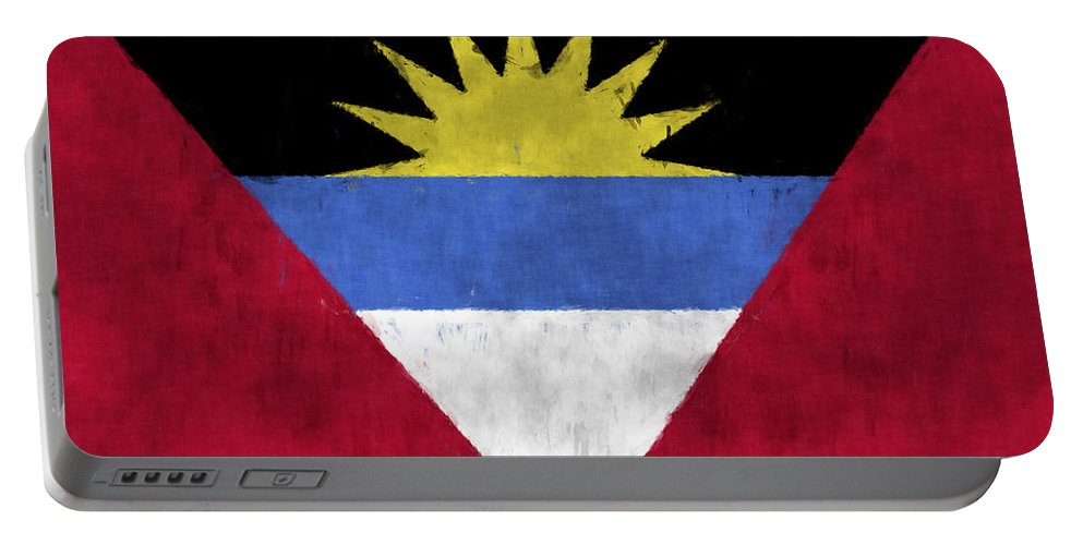 Antigua Portable Battery Charger featuring the digital art Antigua And Barbuda Flag by World Art Prints And Designs