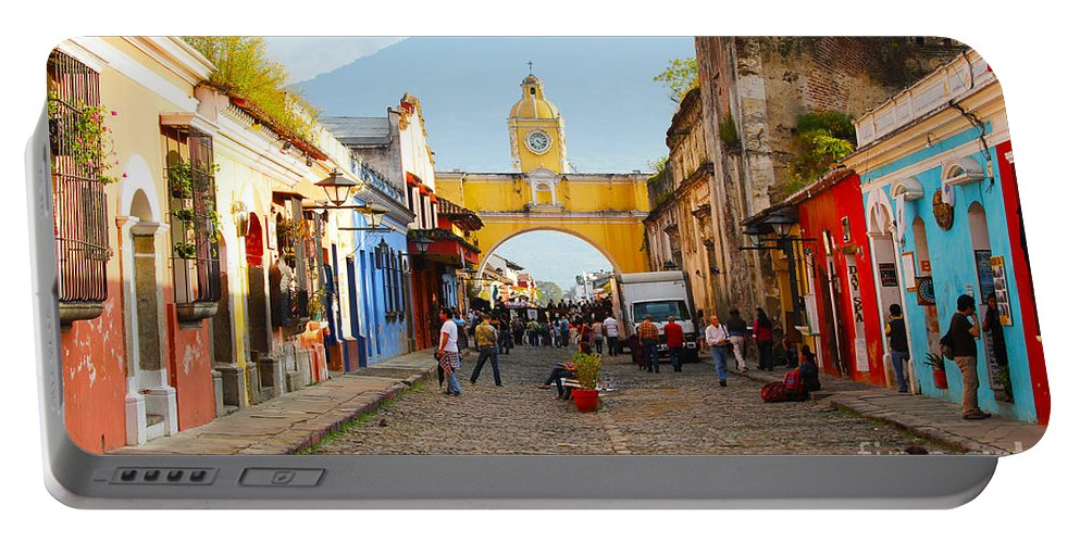 Guatemala Portable Battery Charger featuring the photograph Antigua Guatemala Clock by Carey Chen