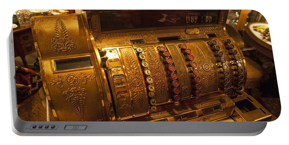 Antique Cash Register Portable Battery Charger featuring the photograph Antique Cash Register by Jerry Cowart