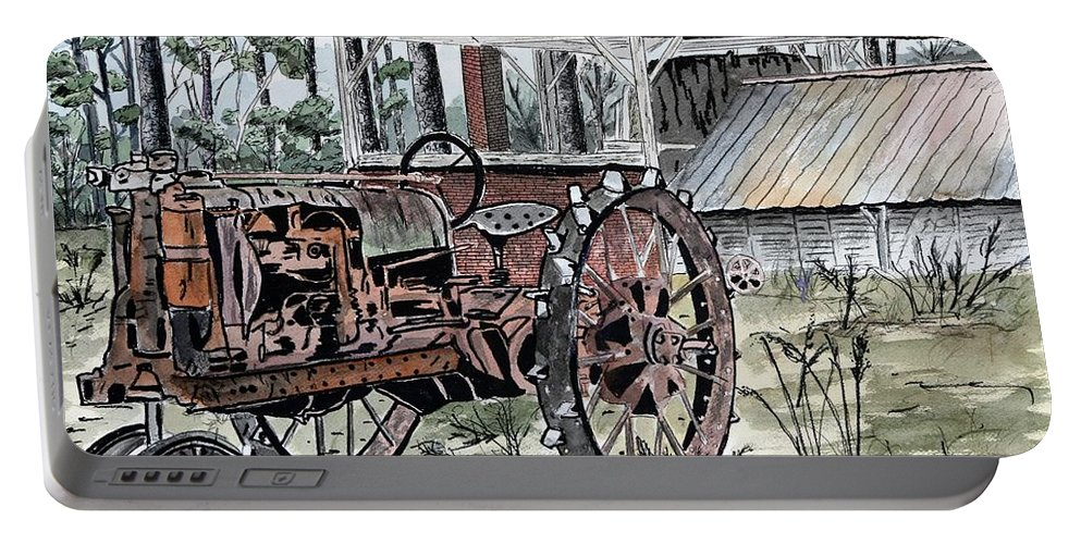 Tractor Portable Battery Charger featuring the painting Antique Farm Tractor  by Derek Mccrea