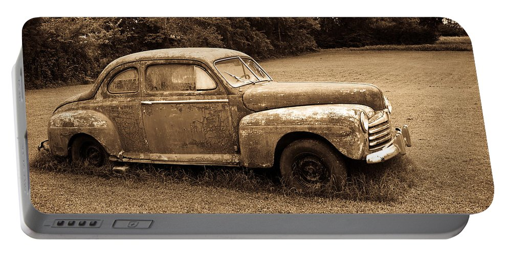 Nostalgia Portable Battery Charger featuring the photograph Antique Ford Car Sepia 4 by Douglas Barnett