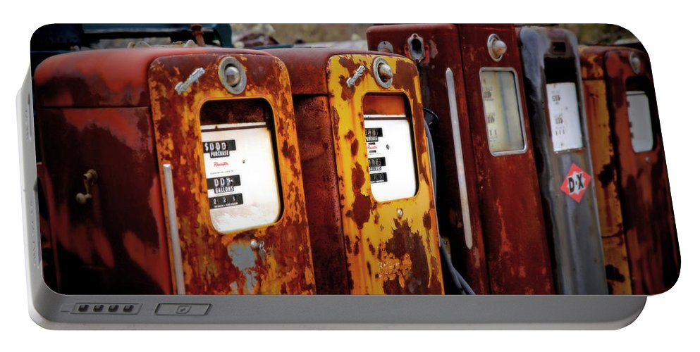 Gas Pumps Portable Battery Charger featuring the photograph Antique Gas Pumps by Lynn Sprowl