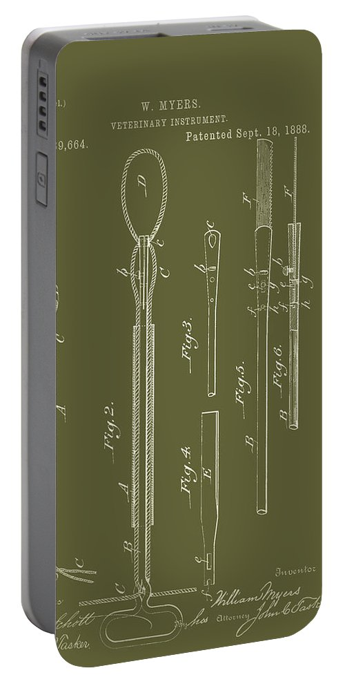 Patent Portable Battery Charger featuring the drawing Antique Veterinary Instrument Patent 1888 by Mountain Dreams