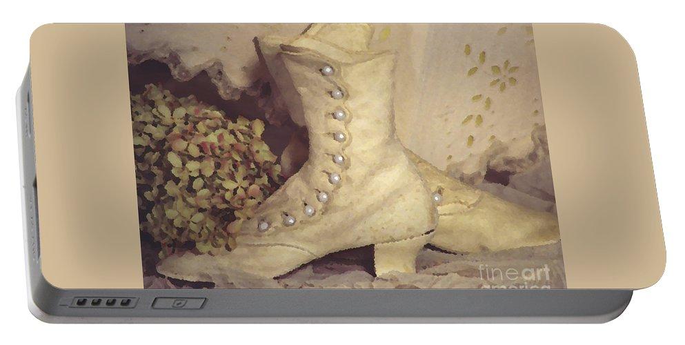 Susan Lipschutz Portable Battery Charger featuring the digital art Antique Wedding Shoes by Susan Lipschutz