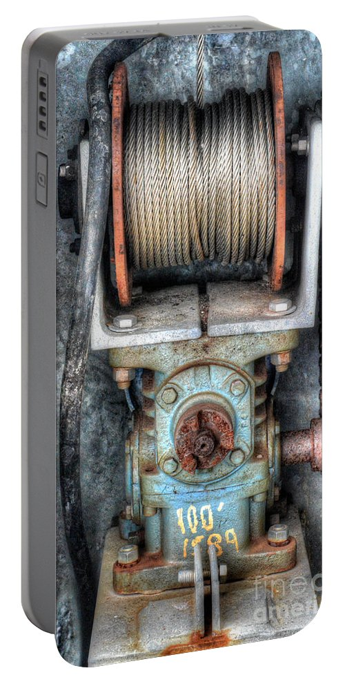 Winch Portable Battery Charger featuring the photograph Antique Winch by Dale Powell