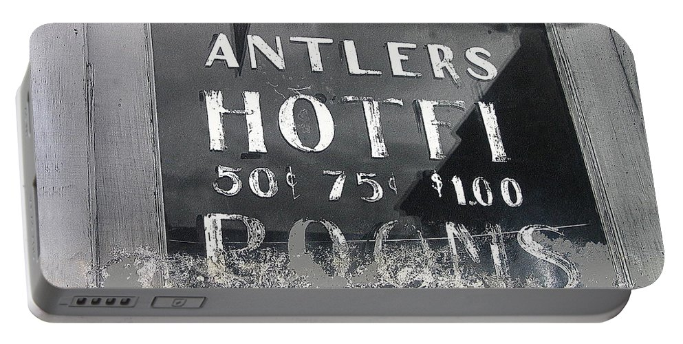 Antler's Hotel Front Door Ghost Town Victor Colorado Black And White Film Noir Portable Battery Charger featuring the photograph Antler's Hotel Front Door Ghost Town Victor Colorado 1971 1971-2013 by David Lee Guss