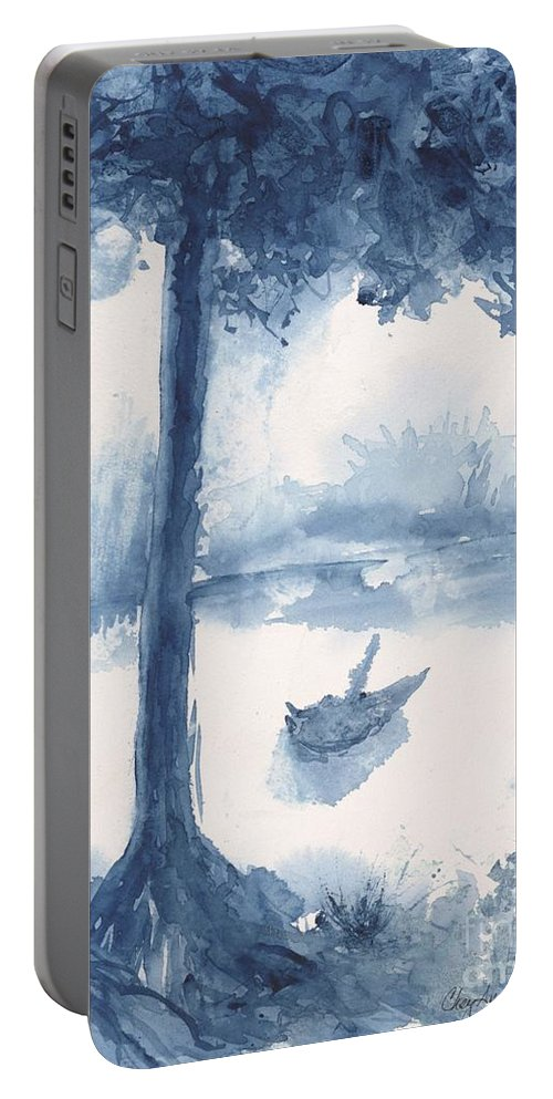 Trees Portable Battery Charger featuring the painting Antwerp Blue Landscape Watercolor by CheyAnne Sexton