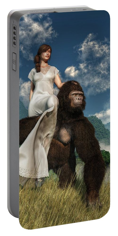 Ape And Girl Portable Battery Charger featuring the digital art Ape And Girl by Daniel Eskridge