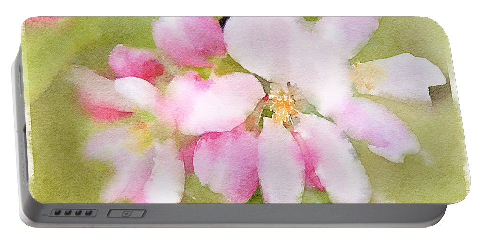 Apple Blossom Portable Battery Charger featuring the painting Apple Blossom Watercolour by Ann Garrett