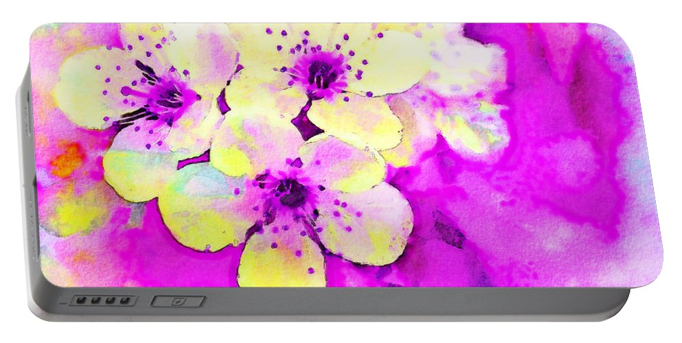 Magenta Portable Battery Charger featuring the photograph Apple Blossoms In Magenta - Digital Paint by Debbie Portwood