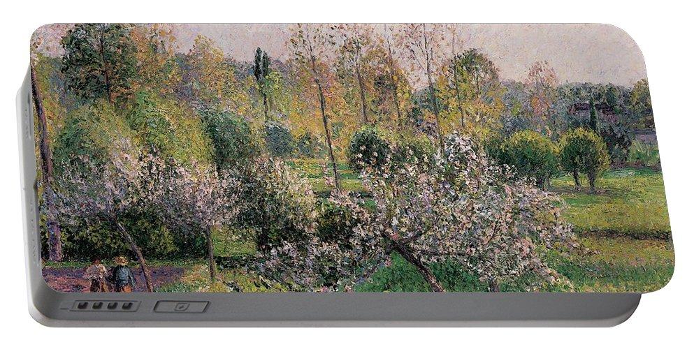 Apple Trees In Blossom Portable Battery Charger featuring the painting Apple Trees In Blossom by Camille Pissarro