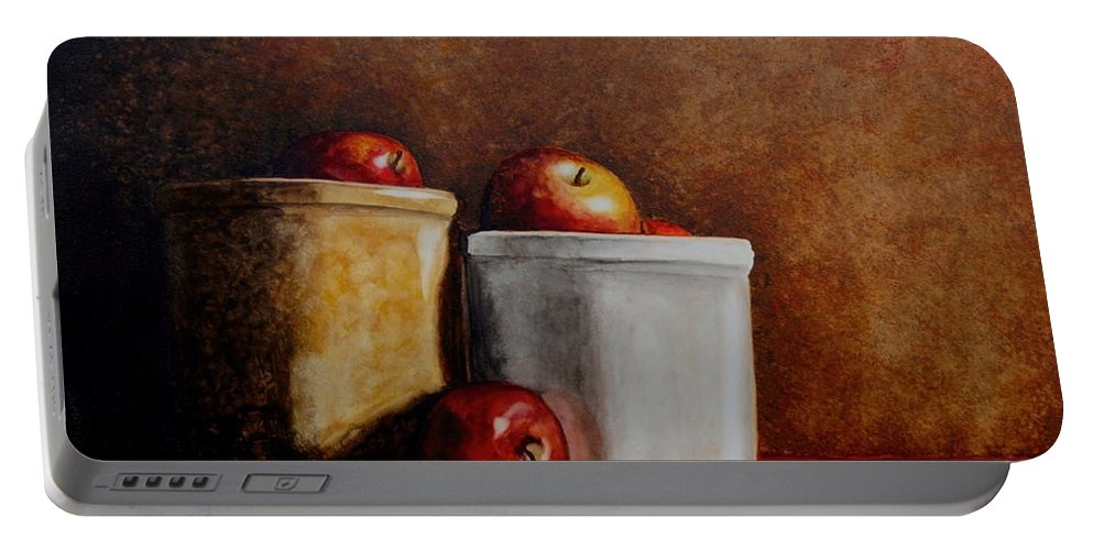 Apples Portable Battery Charger featuring the painting Apples And Jars by Van Bunch