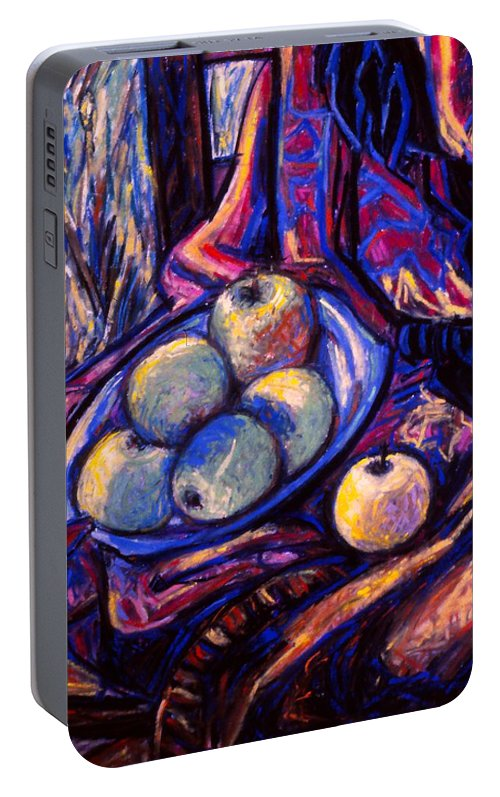 Apples Portable Battery Charger featuring the painting Apples By An Open Window by Kendall Kessler