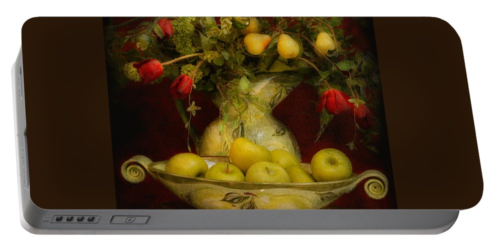Apples Portable Battery Charger featuring the photograph Apples Pears And Tulips by Jeff Burgess