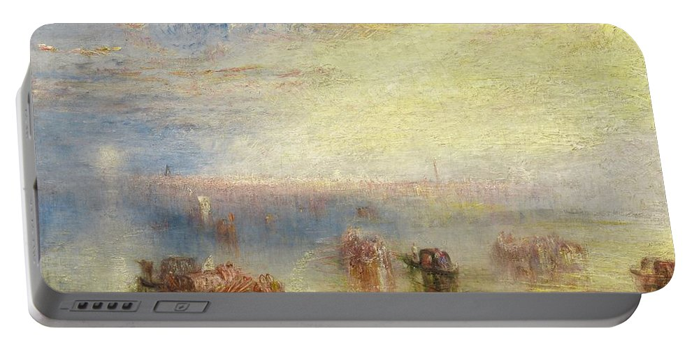1843 Portable Battery Charger featuring the painting Approach To Venice by JMW Turner