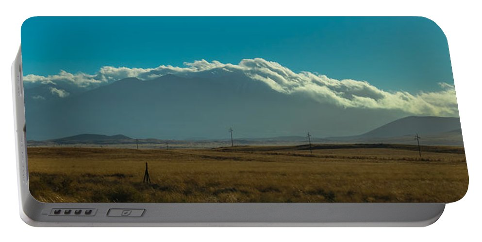 Grasslands Portable Battery Charger featuring the photograph Grassland Approaching Humphreys Peak by Ed Gleichman