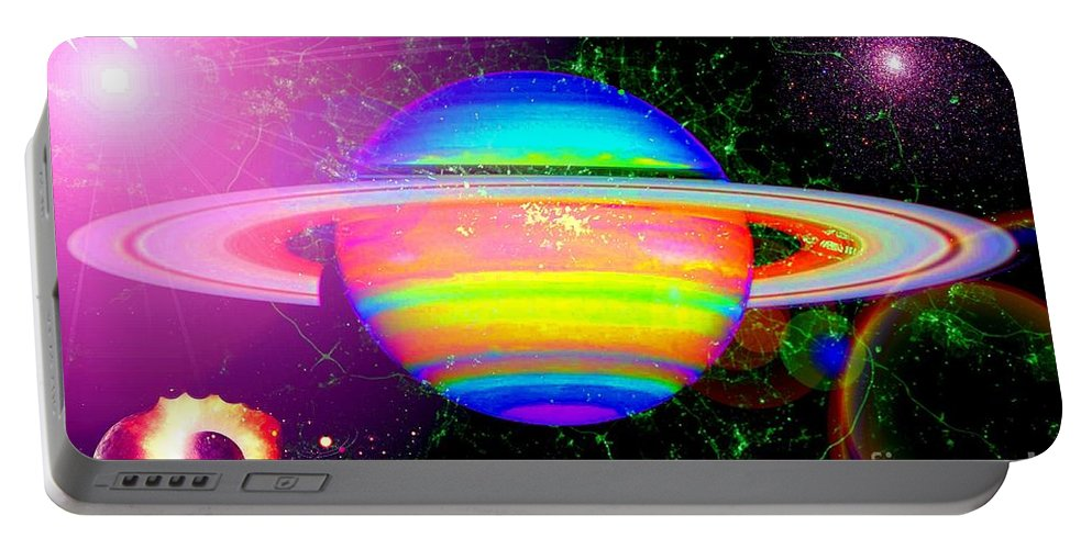 Approaching Saturn Portable Battery Charger featuring the digital art Approaching Saturn From The East by Saundra Myles