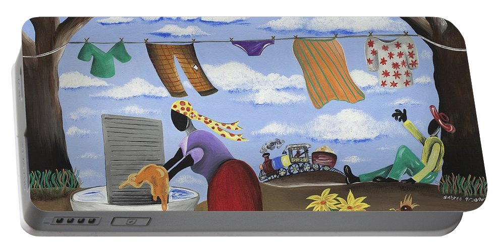 Gullah Art Portable Battery Charger featuring the painting Approaching The Finish Line by Patricia Sabree