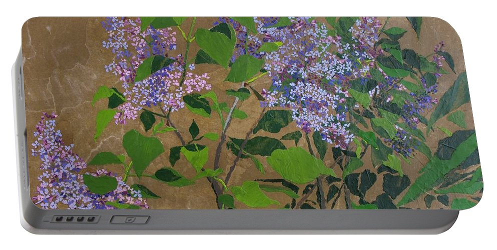 Lilacs Portable Battery Charger featuring the painting April Lilacs by Leah Tomaino
