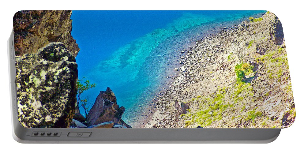 Aquamarine Shoreline At North Junction Of Crater Lake In Crater Lake National Park Portable Battery Charger featuring the photograph Aquamarine Shoreline At North Junction Of Crater Lake In Crater Lake National Park-oregon by Ruth Hager