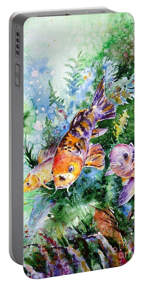 Koi Portable Battery Charger featuring the painting Aquarium by Zaira Dzhaubaeva