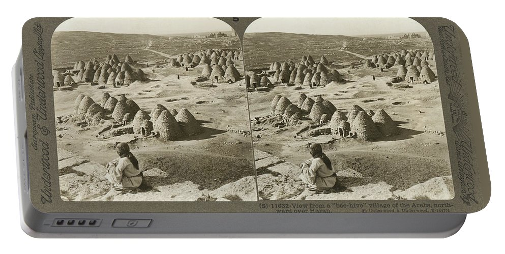 1900 Portable Battery Charger featuring the photograph Arab Bee Hive Village by Underwood & Underwood