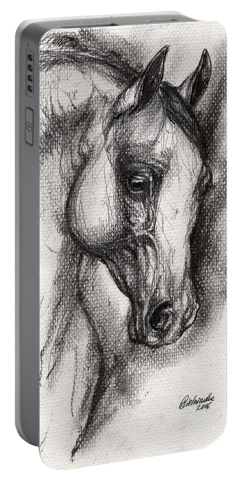 Portable Battery Charger featuring the drawing Arabian Horse Drawing 12 by Angel Ciesniarska