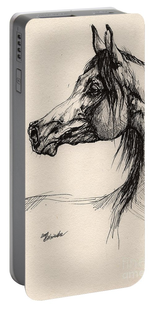 Horse Drawing Portable Battery Charger featuring the drawing Arabian Horse Drawing 26 by Angel Ciesniarska