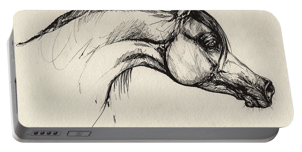 Horse Portable Battery Charger featuring the drawing Arabian Horse Drawing 30 by Angel Ciesniarska