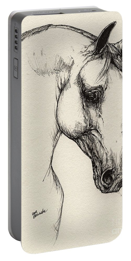 Horse Portable Battery Charger featuring the drawing Arabian Horse Drawing 32 by Angel Ciesniarska