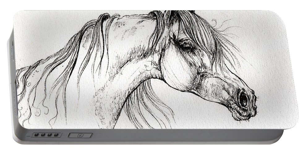 Horse Portable Battery Charger featuring the drawing Arabian Horse Drawing 51 by Angel Ciesniarska